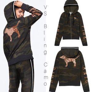 ➳ Victoria's Secret PINK Camo Sequin Zip Up Hoodie